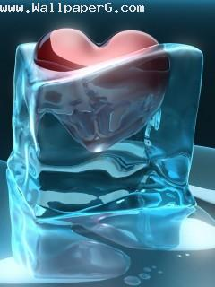 Heart melting with ice