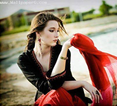 Sad girl in red ,wide,wallpapers,images,pictute,photos