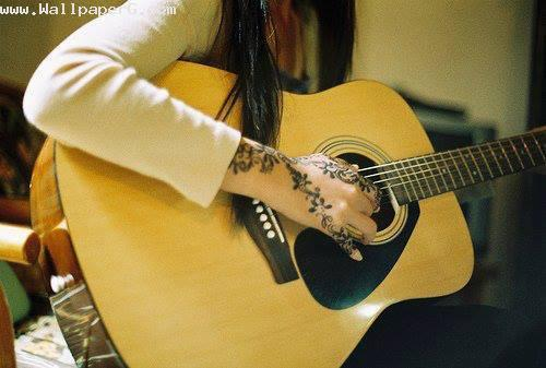 Girl playing guitar ,wide,wallpapers,images,pictute,photos