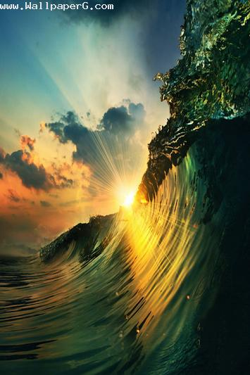Ocean with evening sun ,wallpapers,images,