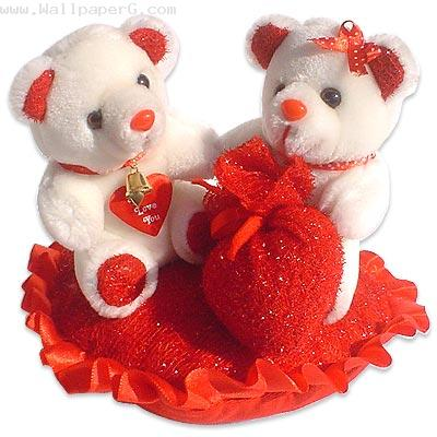Lovely teddy bears on heart