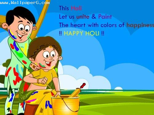 Heart with color of happiness holi
