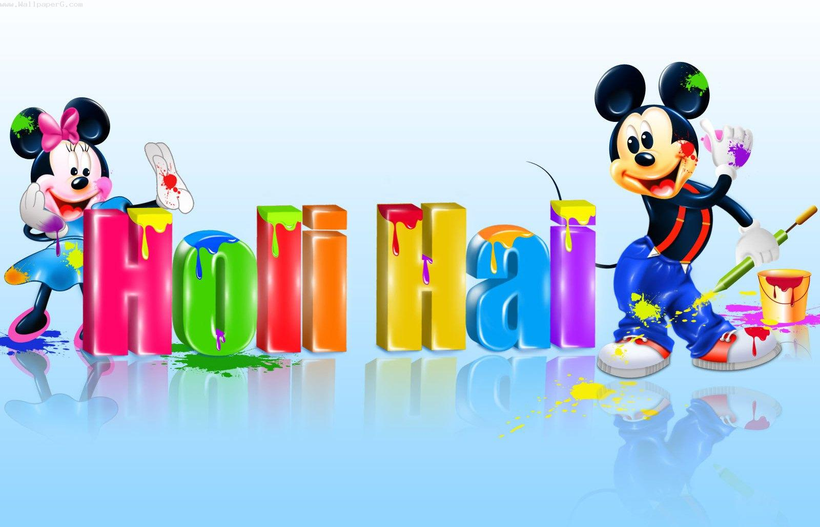 Micky mouse and holi ,wide,wallpapers,images,pictute,photos