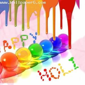Happy holi with colorful balloon