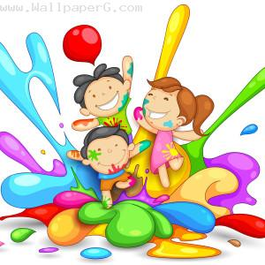 Kids playing holi ,wide,wallpapers,images,pictute,photos