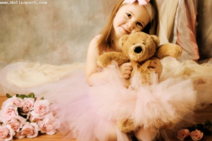 Cute girl with toy bear