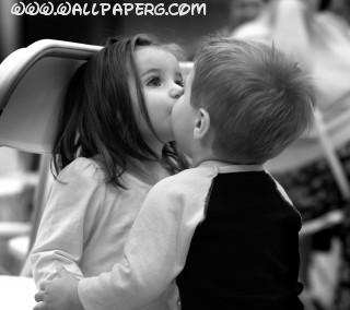 Cute kids kissing