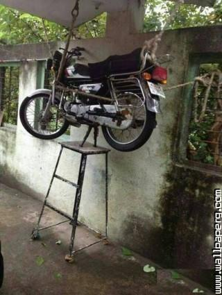 Motorcycle security jugaad like a boss