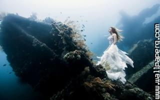 Wedding dress in sea wall