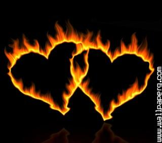 Fire couple hearts ,wide,wallpapers,images,pictute,photos