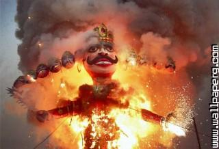 Ravan burned by ram