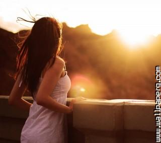 Girl and sunrise