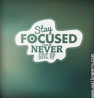 Stay focused and never gi