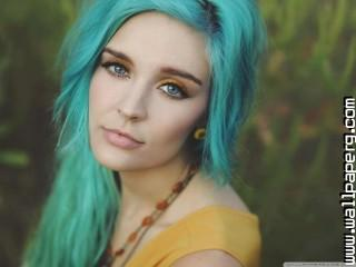 Girl with blue hair wallpaper