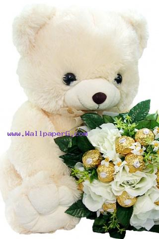 Teddy love with flowers ,wide,wallpapers,images,pictute,photos