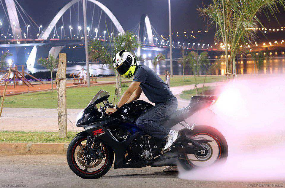 Stunt man with cool bike