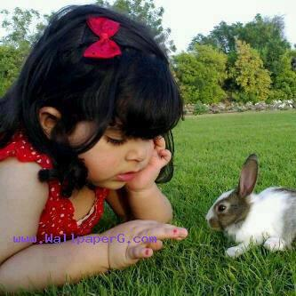 Baby with rabbit ,wide,wallpapers,images,pictute,photos