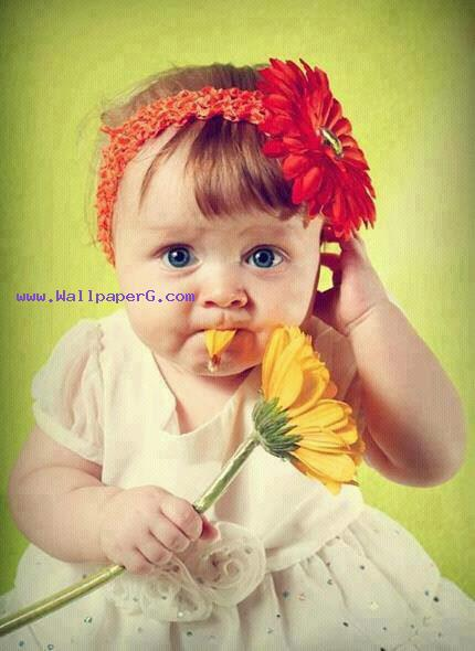 A baby with a flower ,wide,wallpapers,images,pictute,photos