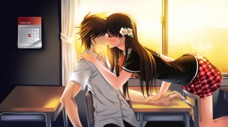 Anime young couple kiss