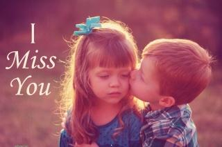 I miss you with small boy kissing girl