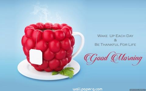 Sweet morning wishes cup image in hd