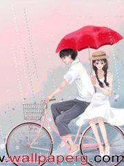 Romantic couple on cycle