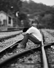 Emo boy at rail track ,wide,wallpapers,images,pictute,photos