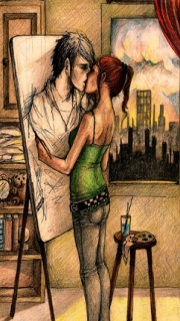 Sweet painting kiss ,wide,wallpapers,images,pictute,photos