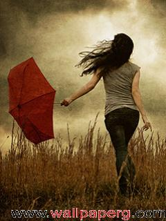 Lonely girl with umbrella ,wide,wallpapers,images,pictute,photos