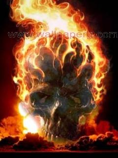 Fire angry skull