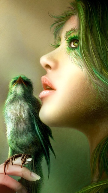 Fantacy green girl ,wide,wallpapers,images,pictute,photos