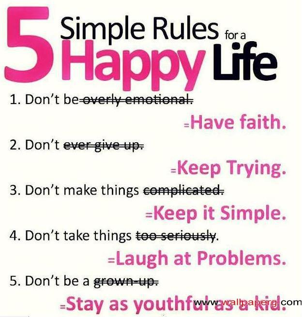 Five simple rule to be happy