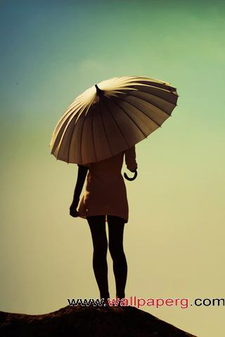 Alone lady + umbrella