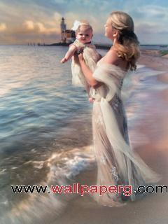 Mother with baby ,wide,wallpapers,images,pictute,photos