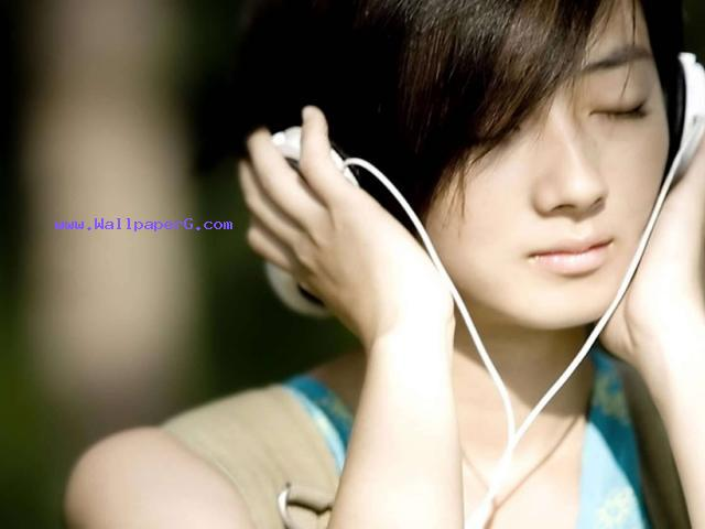 Headphones music girl asians ,wide,wallpapers,images,pictute,photos