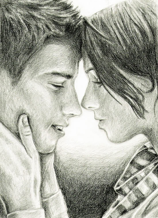 Download Sketch Of Love Couple Romantic Wallpapers For Your Mobile