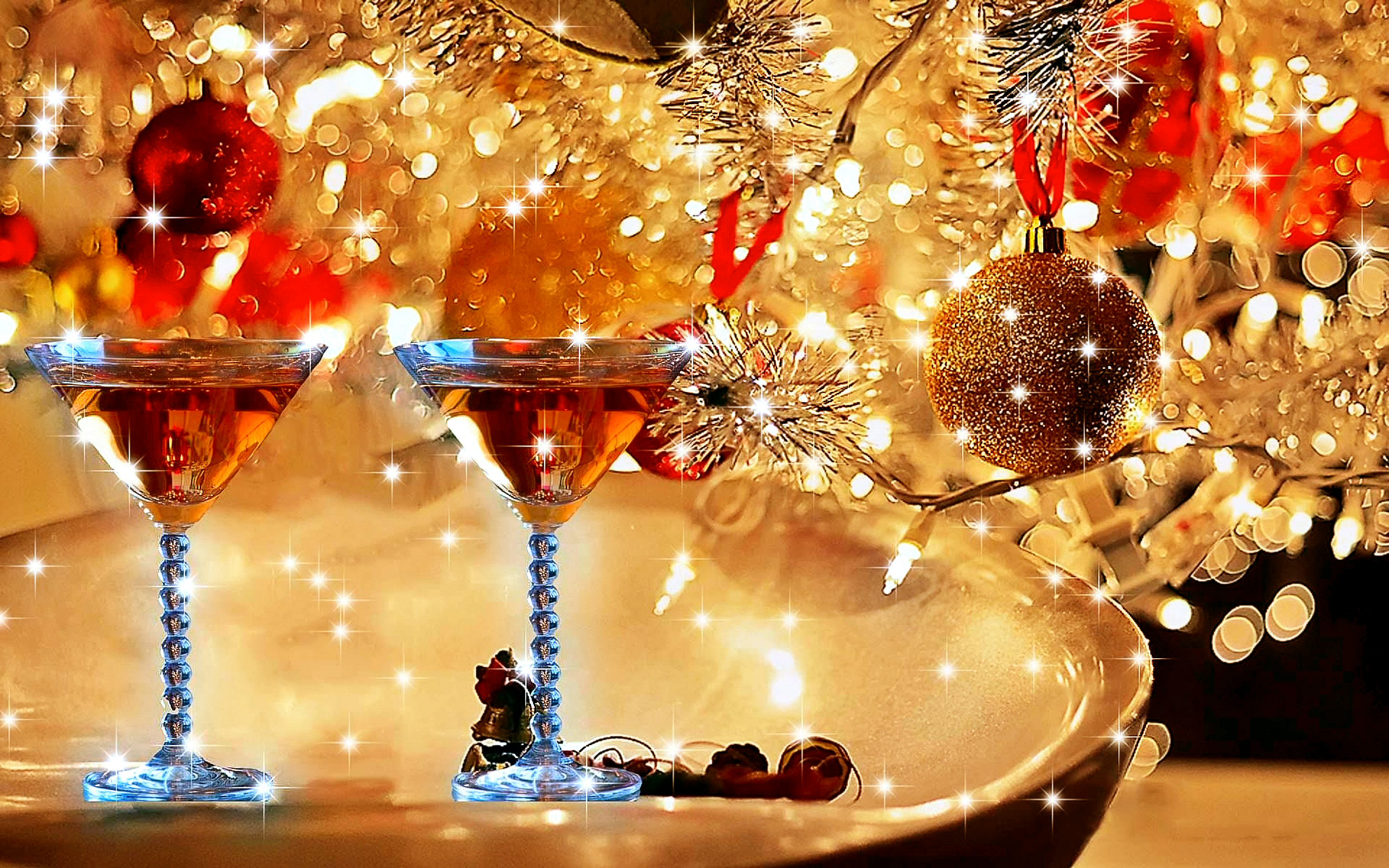 Christmas glass of wine hd wallpaper for laptop mobile