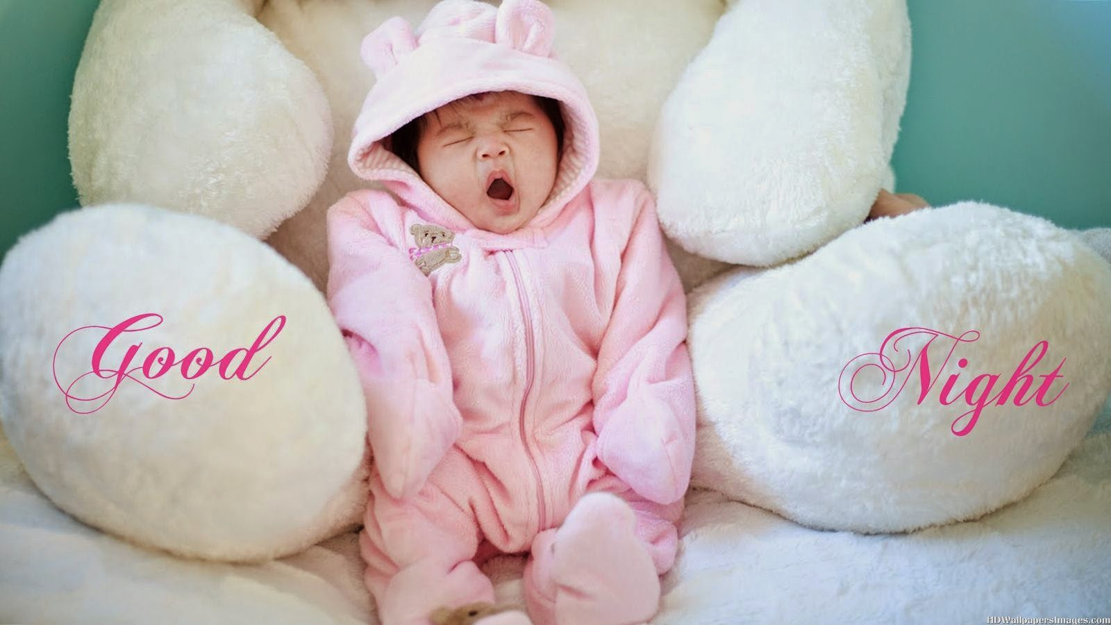 download cute yawing baby goodnight wallpapers - good night