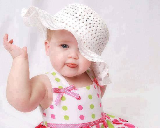 Download Sweet baby with white hat - cute baby for your mobile cell phone