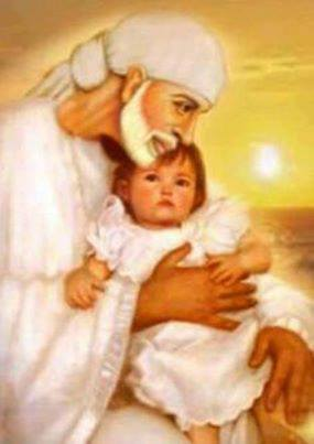 Download Sai with a small baby - Spiritual wallpaper for your mobile cell phone
