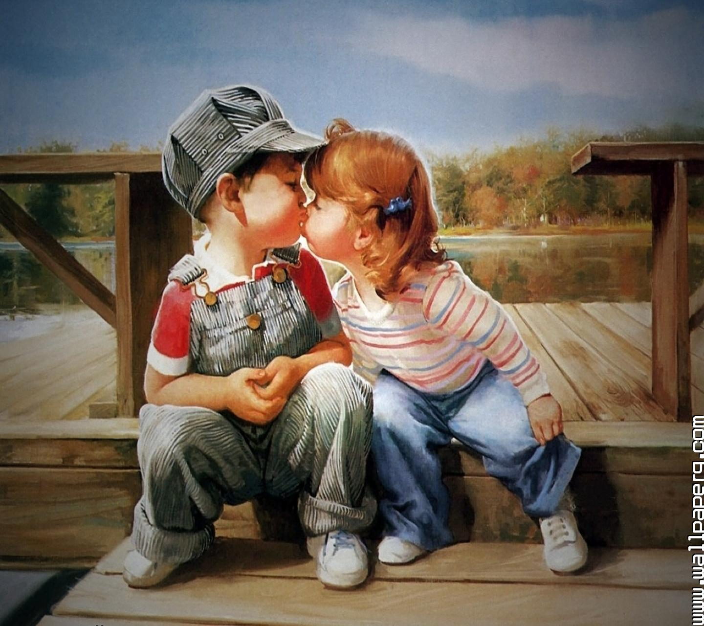 Kissing Wallpaper: Cute Baby Couple Kissing Photos