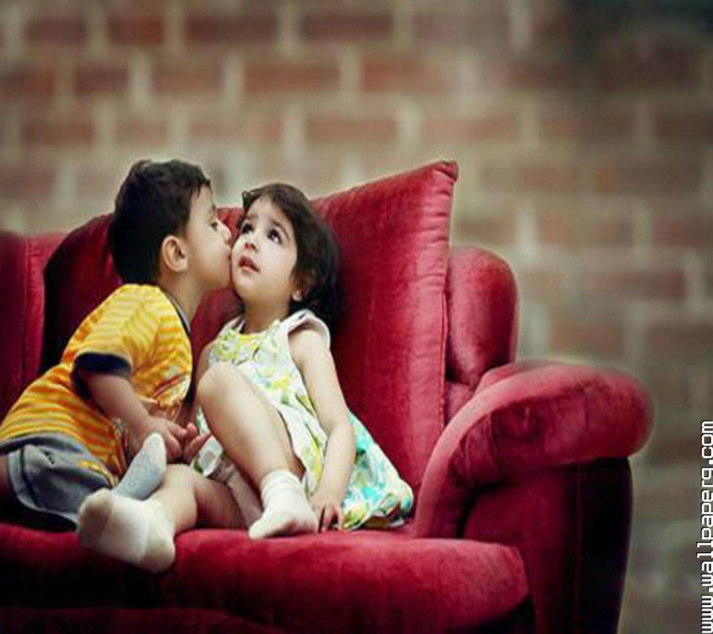 Love cute Baby Hd Wallpaper : Baby couple Kiss Wallpaper - impremedia.net